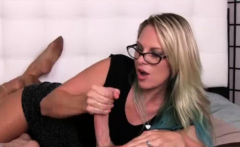 Slutty blonde mom giving a handjob
