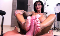 Footjob with german big tits tattoo amateur femdom Milf