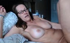 Hairy Milf Glasses Masturbates In Bedroom Webcam