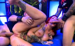 Redhead busty slut gets anal with bukkakes