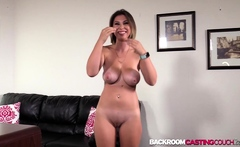 Natural big tits Aubree creampied hard in 1st casting