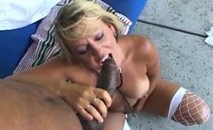 Busty lady rides a BBC