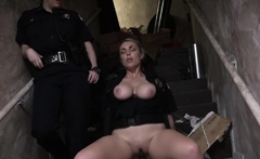 Horny MILF cop is riding a BBC criminal
