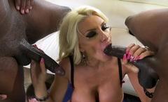 Bleach Blonde Mature Slutwife Enjoying 2 Huge Black Cocks