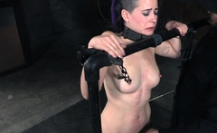Struggling sub toyed and caned by her maledom