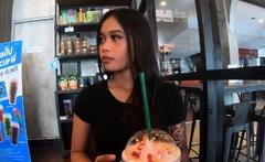 Starbucks coffee date with Asian teen