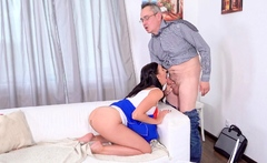 Mature teacher tries to make sexy brunette listen to him
