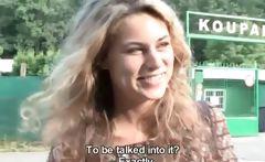 Sexy blonde slut gets horny outdoor
