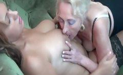 Horny mature lesbian blonde enjoys