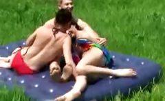shameless FFM trio in public nudist park