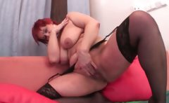 Sex addict slutty mature playing with her favorite dildo